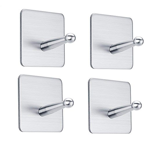 FOTYRIG Adhesive Hooks Wall Hooks SUS 304 Brushed Stainless Steel Bathroom Office Hooks for Hanging Robes, Coats, Towels, Keys, Bags, Lights, Calendars-4 Packs