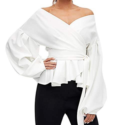 Tunic THENLIAN Women Fashion Long Sleeve Strapless V-Neck Ruffled Tops Lantern Sleeve Bow Belt Bandage Tops(XL, White)