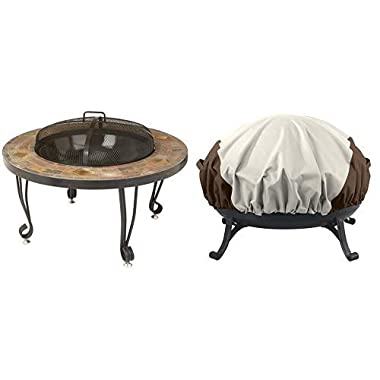 AmazonBasics 34-Inch Natural Stone Fire Pit with Copper Accents and Round Fire Pit Cover, Small