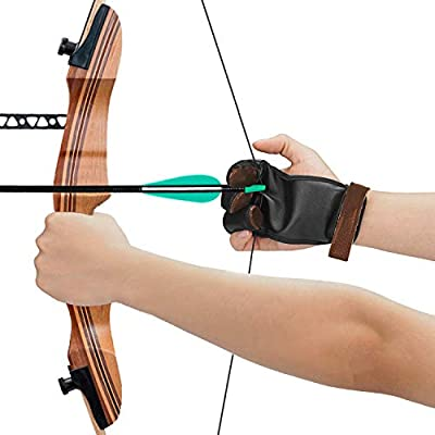 Leather Gloves for Recurve /& Compound Bow Large KESHES Archery Glove Finger Tab Accessories Three Finger Guard for Men Women /& Youth