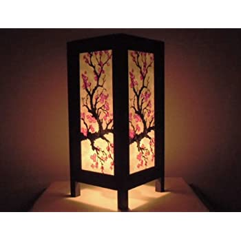 Thai Vintage Handmade Asian Oriental Japanese Sakura Flower Bedside Table  Light or Floor Wood Paper Lamp