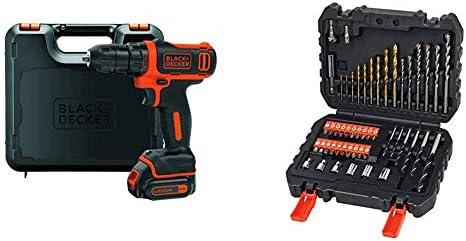 Black+Decker BDCDD12K-QW - Taladro atornillador 10.8 V + BLACK+DECKER A7188 - Set de 50 piezas con brocas y puntas para atornillar y taladrar