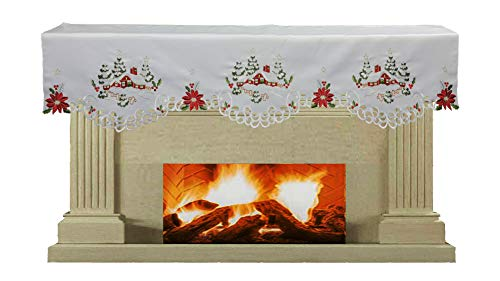 Creative Linens Holiday Christmas Mantel Scarf 19x70 Embroidered Red Poinsettia Christmas Tree Snowy Cabin Winter Fireplace Decoration White