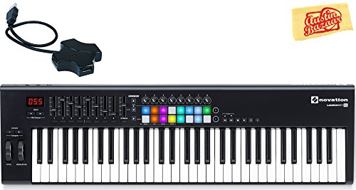 Novation Launchkey 61 Keyboard Controller Bundle with USB Hub and Austin Bazaar Polishing Cloth