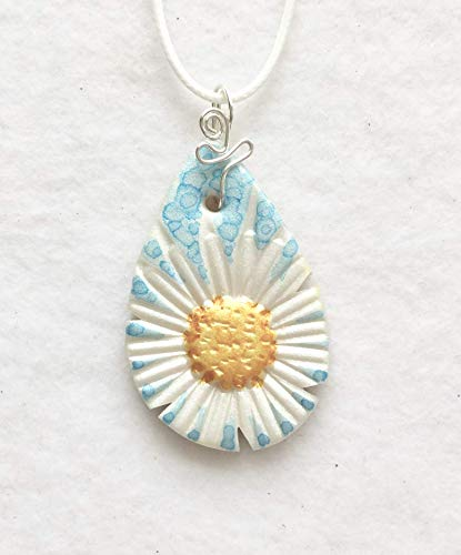 (White and Yellow Daisy Blue Background Pendant Handcrafted Polymer Clay White Braided Cord LIghtweight Just for You)