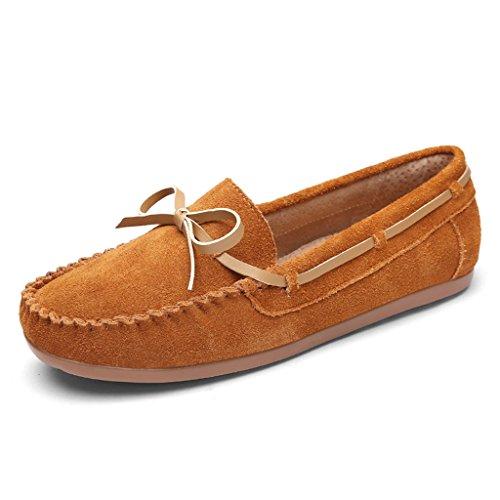 größe Schuhe Frauen beschuht weibliche flache beiläufige 38 Schuhe faule Pedal Schuhe einer Frühlings Farbe treibende HWF Damenschuhe Braun Schuhe Erbsen qvB4U0