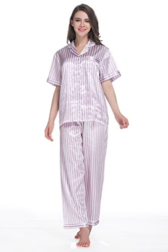 Purple Satin Stripe - SunRise Women's Short Sleeve Classtic Satin Pajama (Large, Light Purple Stripe)