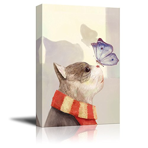 Cat Wearing a Scarf with a Butterfly on The Nose