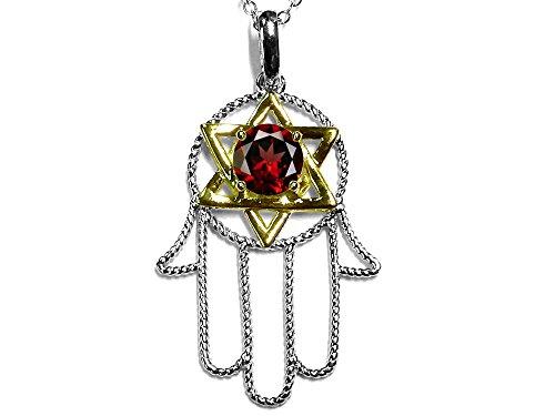 (Star K Large Hamsa Hand Jewish Star of David Pendant Necklace with Genuine Garnet 10 kt Two Tone Gold)