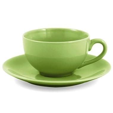Metropolitan Tea Mojito Lime Ceramic Teacup and Saucer Set, Service for 2