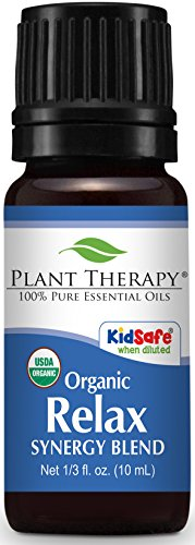 Plant Therapy Relax Organic Synergy Essential Oil 10 mL (1/3 oz) 100% Pure, Undiluted, Therapeutic Grade (Lotion Amber Unscented Massage)