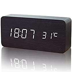 Wood LED Digital Alarm Clock, LOXVAO Slick and Innovative Design Temperature & Time Display Morning Clock Sound Control Adjustable Brightness Desk Clock Dual Powered for Home and Office