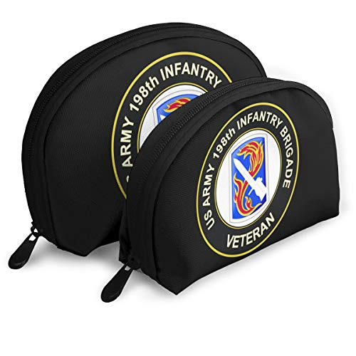 US Army 198th Infantry Brigade Veteran Womens Holder Shell Makeup Pouch Storage Bag Toiletry Organizer
