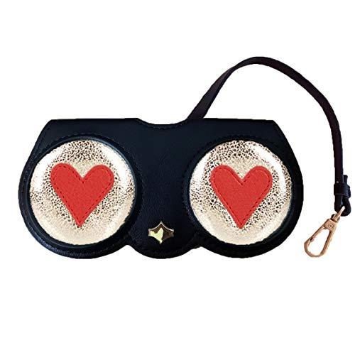 - Poppow Women's Handmade Sunglasses Case, Cute Leather Eyeglasses Case Bag Keychain Charm Decoration Pendant Gift Accessory (L, Black heart)