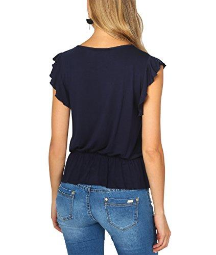 KRISP Camiseta Mujer Verano Talla Grande Manga Corta Elegante Top Volante Azul Marino