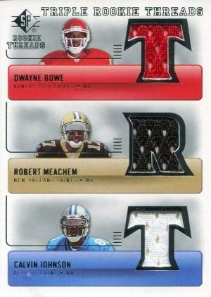 Dwyane Bowe Robert Meachem and Calvin Johnson Unsigned 2007 Upper Deck Jersey Card - Football Game Used Cards ()
