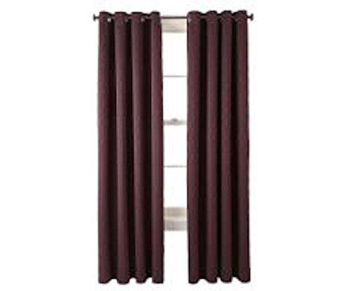 "Price comparison product image Studio Luna Grommet-Top Blackout Lined Textured Curtain Panel,  Exotic Plum / Burgundy 50"" x 108"""