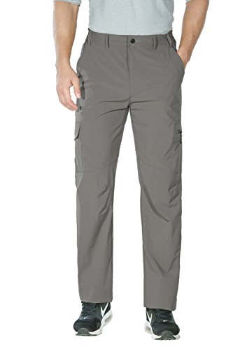 Nonwe Men's water-resistant Breathable Quick Dry Hiking Pants Light Gray M/32 Inseam Breathable Nylon Pant
