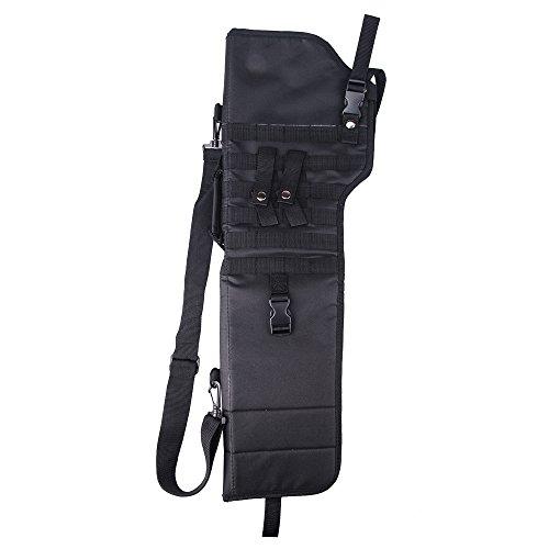 (aokur Tactical Pistol Scabbard Holster Molle Rifle Sling Case Bag for Tactical Shotgun Outdoor Hunting (Black))