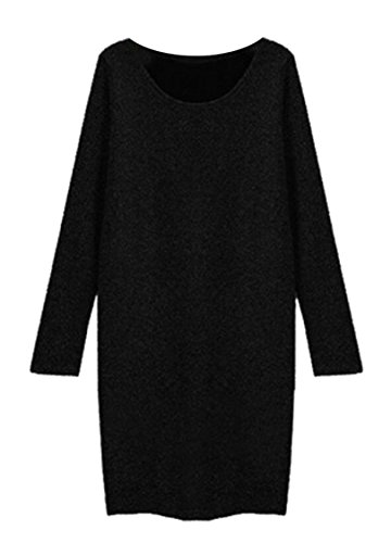 Bodycon Sleeve Dress Black Womens Plus Round Domple Neck Long Size Mini q0AE6