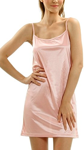 Pink Slip Full (Melody [Shop Lev] Women's Basic Satin Full Slip (Pink, Large))
