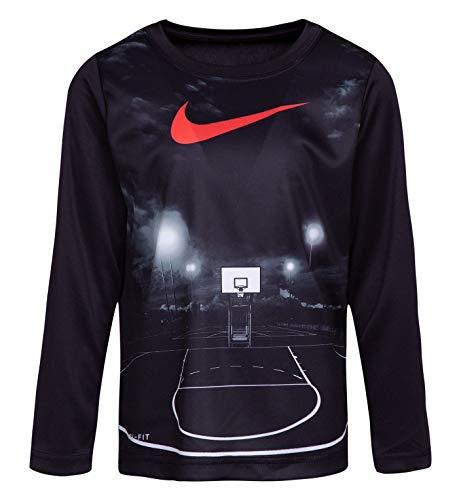 Nike Little Boys Friday Night Lights Dri-Fit Long Sleeve Tee Shirt (Black, 3T)