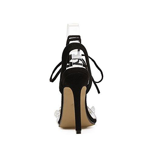 cross ZHZNVX sandalias agua tacón sandalias de de alto black alto tacón mujer de la reposapiés El perforación zapatos r5zfFUqr