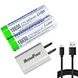 MaximalPower (4 Pack) 18650 3.7V 3400mAh Protected Li-ion Rechargeable Battery 2X + USB
