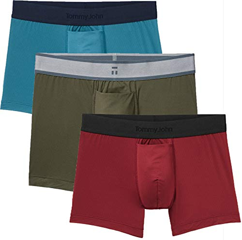 Tommy John Men's Air Trunks - 3 Pack - Comfortable Breathable Soft Underwear for Men (Forest Night/Adriatic Blue/Syrah, Large)
