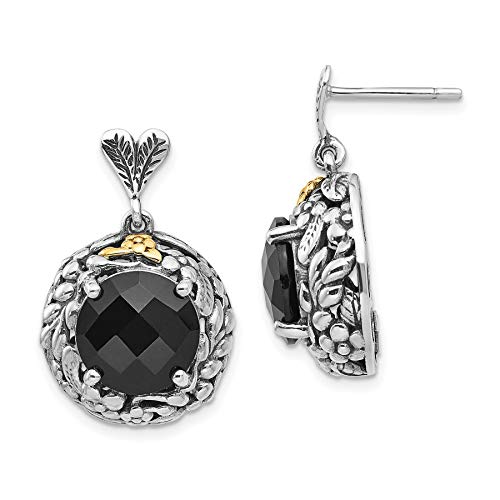 Gold Tone Onyx Earrings - Shey Couture 925 Sterling Silver with Gold-Tone Accent Onyx Post Dangle Stud Earrings, 26 MM