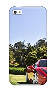 LJF phone case Fashionable Style Case Cover Skin For iphone 4/4s- Red Sports Car On A Riverbank