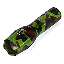 Leewos G700 Shadow hawk X800 Tactical Zoom LED Camouflage Flashlight 5-Mode Adjustable Brightness and Waterproof Military Torch (dark green camouflage)