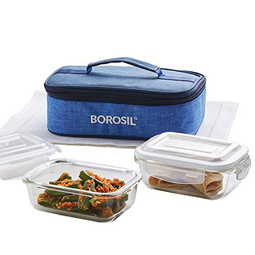 Borosil – ICYS2PRIRECH Prime Glass Lunch Box Set of 2, 370 Safe Office Tiffin Price & Reviews