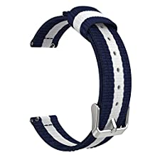 "Universal 18mm Quick Release Watch Band, MoKo Fine Woven Nylon Adjustable Replacement Strap for Huawei Watch 1st/Fit Honor S1, Asus Zenwatch 2 1.45"", Withings Activite Pop/Pulse Ox, Blue & White"