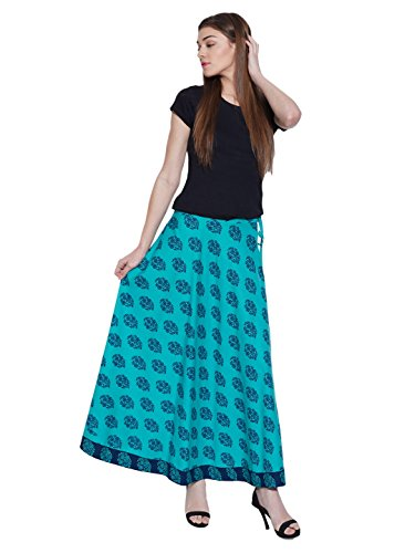 Shalinindia Floral Turquoise Maxi Skirt Ankle Length Casual Dresses For (Turquoise Floral Skirt)