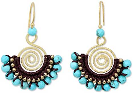 NOVICA 24k Yellow Gold Plated Brass Spiral Dangle Earrings with Calcite Beads, 'Blue Spiral'