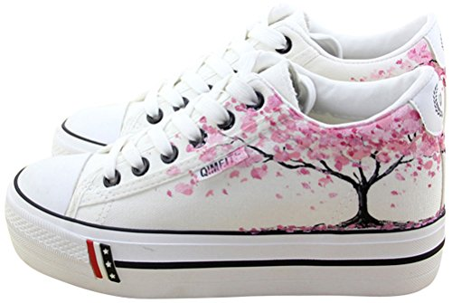 SATUKI Canvas Shoes for Women,Platform Lace up Casual Cat Comfort White Fashion Sneakers (5.5, B) Cat Casual Shoes