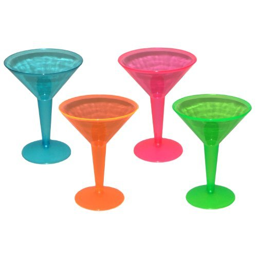 Party Essentials Hard Plastic Two Piece 8-Ounce Martini Glasses, Assorted Neon, 12 Count by Party Essentials