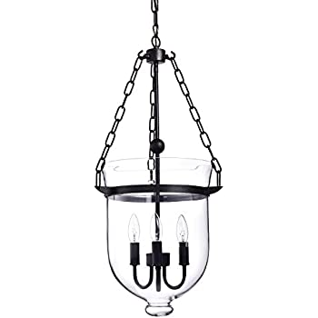 Belita 3 Light Antique Bronze Glass Lantern Ceiling Fixture Pendant Chandelier