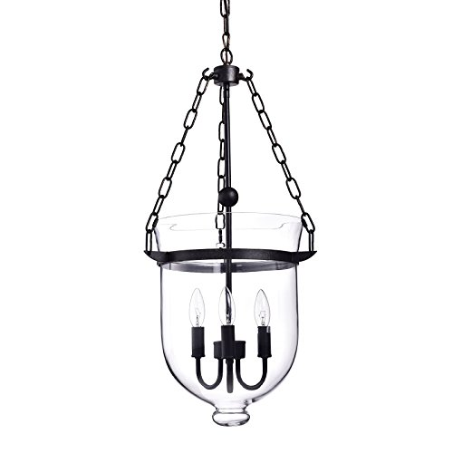 Edvivi Belita 3-Light Antique Bronze Ceiling Fixture Pendant Chandelier with Bell Shape Glass Lantern Shade | Contemporary Lighting from Edvivi