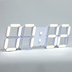 ROIRETNI Modern LED Digital Wall Clock PLUS+ White / Mood Light (Mood Light/Cable 3.3m)