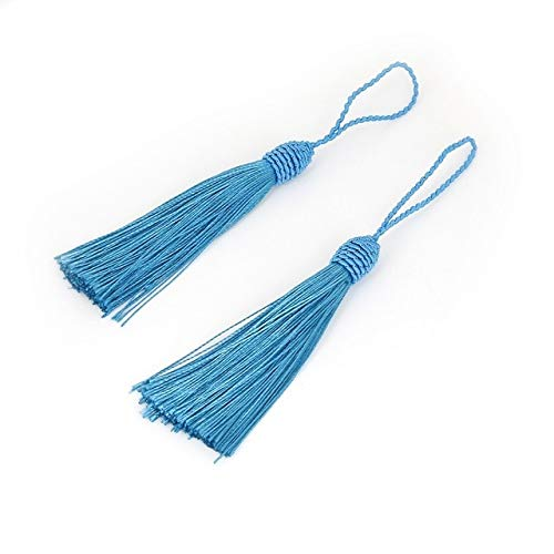 Laliva Accessories - 10pcs/lot Multi Colors Chinese Knot Cotton Tassels Silk Tassels for Bracelet Necklace Jewelry Making DIY Earrings Findings - (Color: Turquoise)