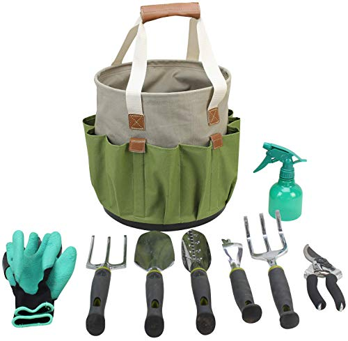 Garden Tools Set | Gardening Gifts | Gardening Tools Set | 9 Piece Garden Tool Set | Digging Claw Gardening Gloves Succulent Tool Set | Planting Tools | Gardening Supplies Basket | Rake Gloves