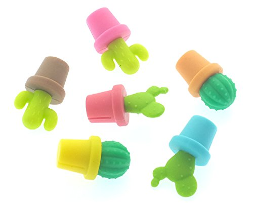 nod products Set of 6 Colorful Cacti Silicone Glass Charms by nod products (Image #1)