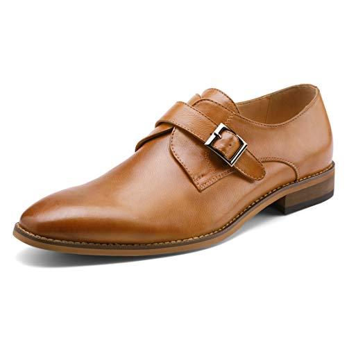 Men's Monk Strap Dress Shoes Prince Single Buckle Slip On Stylish Plain-Toe Dress Loafer Brown 9.5 D (M) US