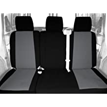 CalTrend Rear Row Solid Bench Custom Fit Seat Cover for Select Ford F-150 Models - DuraPlus (Light Grey Insert and Black Trim)