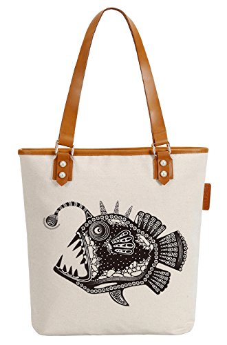 So'each Women's Marine Fish Canvas Tote Pearly Top Handle Shoulder Bag