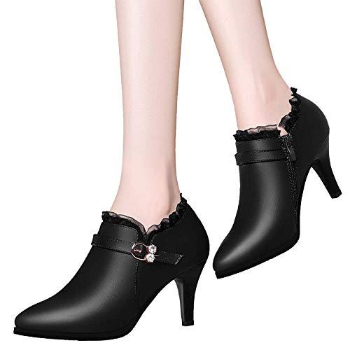 Aguja De Con Otoño Femeninos Zapatos Y Boca B Imitación Puntiagudos Tacones Tacón Black Profunda Yukun Diamantes Alto 0Bqw4x6nn