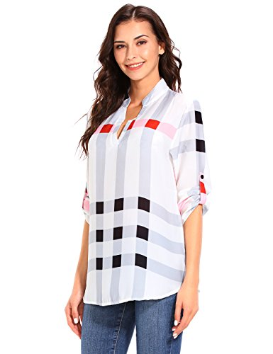 ISASSY Classique Chemisier Col Longues Manches Blanc Chemise Relaxed Femme rwrI4d1q