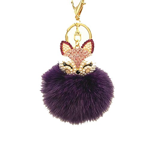 - Genuine Rabbit Fur Ball Pom Pom Keychain with A Fashion Alloy Fox Head Studded with Synthetic Diamonds(Rhinestone) for Womens Bag Cellphone Car Charm Pendant Decoration (Purple)